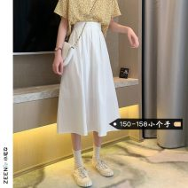 skirt Summer 2021 XS S M L White black Mid length dress commute High waist Pleated skirt Solid color Type A 18-24 years old More than 95% Small house woman shopping other Three dimensional decoration Korean version Other 100%