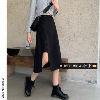skirt Summer 2021 XS S M L black Mid length dress commute High waist A-line skirt Solid color Type A 18-24 years old More than 95% Small house woman shopping other zipper Korean version Other 100%