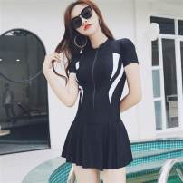 one piece  No wonder M,L,XL,4XL,5XL,3XL,2XL black With chest pad without steel support spandex female Short sleeve Casual swimsuit Solid color