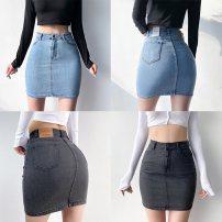 skirt Spring 2021 S,M,L Gray, blue Short skirt street High waist skirt Type A 25-29 years old Europe and America