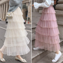 skirt Spring 2021 Suitable for 80 ~ 130 kg Black, white, apricot, pink Mid length dress commute High waist Cake skirt Solid color Type A 18-24 years old xdg other other Splicing Korean version