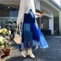 skirt Spring 2021 It can wear 80-130 Jin Gray, blue, black, pink Mid length dress commute High waist Irregular other Type A 18-24 years old Wei 71% (inclusive) - 80% (inclusive) other polyester fiber Fold, asymmetry, mesh, stitching Korean version