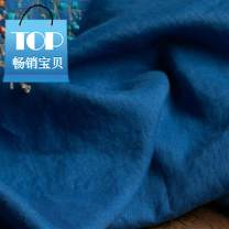 Fabric / fabric / handmade DIY fabric flax Milky white, ultramarine 0.5 meter price Loose shear piece Solid color printing and dyeing clothing Chinese style Other / other 100%
