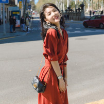 Women's large Summer 2021 Brick red, haze blue 1 = s (90-105 kg recommended), 2 = m (105-115 kg recommended), 3 = l (115-125 kg recommended), 4 = XL (125-140 kg recommended) Dress Sweet thin Short sleeve V-neck Medium length routine Medium length