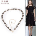 Belt / belt / chain Metal Silver Gold female Waist chain Versatile Single loop Middle aged youth a hook Geometric pattern Glossy surface 1.4cm alloy Naked chain Mengsilong 110cm Winter of 2019 no