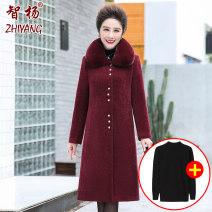 Middle aged and old women's wear Winter 2020 XL [within 110 Jin recommended] 2XL [recommended 110-125 Jin] 3XL [125-135 Jin recommended] 4XL [135-145 Jin recommended] 5XL [145-160 Jin recommended] fashion woolen coat easy singleton  Solid color 40-49 years old Cardigan thickening One word collar