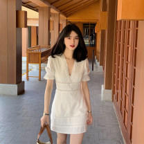 Women's large Summer 2021 white S M L XL 2XL Dress singleton  commute Self cultivation Socket Short sleeve Solid color Korean version V-neck routine puff sleeve ++81 Webbed 25-29 years old Short skirt Other 100% Pure e-commerce (online only)