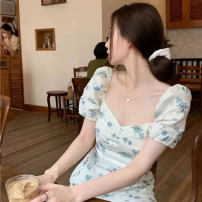 Women's large Spring 2021 Picture color S M L XL Dress singleton  commute Self cultivation Socket Short sleeve Korean version square neck Medium length +33 Webbed 25-29 years old Medium length Other 100% Pure e-commerce (online only)