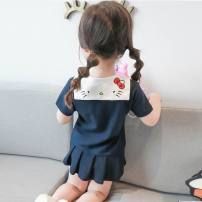 Dress Blue, pink, blue sleeveless knitting lace, yellow sleeveless knitting lace, Academy blue, Academy pink, bear White Polo, bear red polo, red cat short sleeve skirt female Other / other 90cm,100cm,110cm,120cm,130cm Cotton 100% summer Korean version Short sleeve Cartoon animation cotton Class B