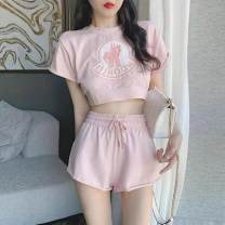 Dress Summer 2021 Pink short suit pink pants suit S M L XL Short skirt Two piece set Short sleeve Sweet Crew neck Cartoon animation Socket other other Others 18-24 years old Type X Hooxmvji / quotable KY-5399 81% (inclusive) - 90% (inclusive) other cotton Cotton 90% polyester 10% Mori