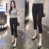 Casual pants black S,M,L,XL,2XL Summer 2021 Cropped Trousers Pencil pants Natural waist commute routine 25-29 years old 91% (inclusive) - 95% (inclusive) Other / other Cotton blended fabric Korean version pocket