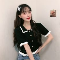 T-shirt White black S M L Summer 2021 Short sleeve Polo collar Self cultivation Regular routine commute other 96% and above 18-24 years old Korean version youth Solid color Gu Nuo GN047 Other 100% Pure e-commerce (online only)