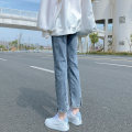 Jeans Spring 2021 Retro light blue (8 points) retro light blue (9 points) retro light blue (pants) XS S M L XL 2XL Ninth pants High waist Straight pants routine 18-24 years old Wash zipper Cotton denim light colour Xi Nuo Xue 96% and above Cotton 99% other 1% Pure e-commerce (online only)