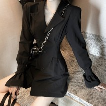 Dress Autumn 2020 black S M Short skirt singleton  Long sleeves commute tailored collar High waist Solid color Single row two buttons A-line skirt pagoda sleeve Others 18-24 years old Type A Buryton Korean version i8A More than 95% other other New polyester fiber 100.00% Pure e-commerce (online only)