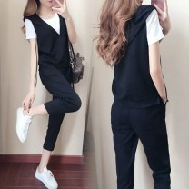 Women's large Summer 2020 T-shirt + Vest + pants M L XL 2XL 3XL 4XL Other oversize styles Three piece set commute Self cultivation moderate Socket Short sleeve Solid color Korean version Hood routine .04674987 Love beauty 91% (inclusive) - 95% (inclusive) Other 100% Cropped Trousers