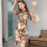 cheongsam Summer of 2019 S M L XL Decor Sleeveless Short cheongsam Retro No slits daily Round lapel Decor Guangdong Philippines other Other 100%