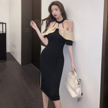 Dress Summer 2021 black S M L Mid length dress singleton  Short sleeve commute One word collar middle-waisted Solid color zipper One pace skirt other Hanging neck style 18-24 years old Type X Guangdong Philippines Korean version Open back stitching More than 95% other Other 100%