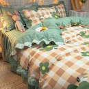 Bedding Set / four piece set / multi piece set Polyester (polyester fiber) other Plants and flowers 128x68 Other / other Polyester (polyester fiber) 4 pieces 40 Bed sheet, bed skirt Qualified products Korean style Reactive Print  MAO CHUN XIANG FABRIC0007 other