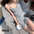 Women's large Summer 2020 Light grey black S M L XL Dress singleton  commute easy moderate Socket Sleeveless Korean version routine Three dimensional cutting other LOBQ89823 Lin Yao 18-24 years old Short skirt Other 100% Pure e-commerce (online only) other straps