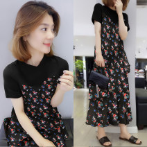Dress Autumn of 2019 black S M L Mid length dress singleton  Short sleeve street Crew neck High waist Decor Socket A-line skirt routine Others 30-34 years old Type A Han Gusu F192t02137p0130 81% (inclusive) - 90% (inclusive) polyester fiber Polyester 90% other 10% Pure e-commerce (online only)