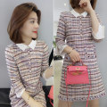 Dress Autumn of 2019 Color matching S M L Mid length dress singleton  three quarter sleeve street other High waist lattice Socket routine Others 30-34 years old Type X Han Gusu F193t05392p More than 95% polyester fiber Polyester 95.9% polyurethane elastic fiber (spandex) 4.1% Europe and America