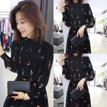 Dress Spring 2021 black S M L XL Mid length dress singleton  Long sleeves street Half high collar High waist Decor Socket A-line skirt Lotus leaf sleeve Others 30-34 years old Han Gusu More than 95% polyester fiber Polyester 100% Pure e-commerce (online only) Europe and America