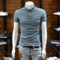 Polo shirt Other / other Youth fashion routine Black, pink, light blue M,L,XL,2XL,3XL Self cultivation Other leisure summer Short sleeve Simplicity in Europe and America routine youth Cotton 95% polyurethane elastic fiber (spandex) 5% 2021 cotton washing Embroidery