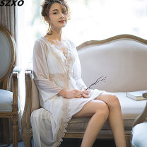 Pajamas / housewear set female SZXO M, L Light blue, white, black, shrimp powder Polyester (polyester) Long sleeves sexy Leisure home summer Thin money V-neck Solid color Tether 2 pieces 81% (inclusive) - 95% (inclusive) Mesh fabric lace Middle-skirt