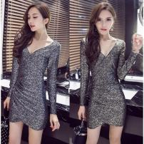 Dress Winter of 2018 Gold, silver Long sleeves Other / other