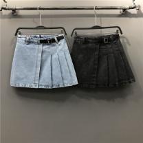skirt Spring 2021 S,M,L,XL,2XL Light blue, black Short skirt Versatile High waist Pleated skirt Solid color Type A Denim cotton Pocket, button, zipper