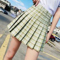 skirt Spring 2021 XS (1'8), s (1'9), m (2's), l (2'1), XL (2'2), 2XL (2'3) [Avocado Green], [lemon yellow], [apricot color], [black] Short skirt High waist Pleated skirt Zipper, fold