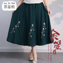 skirt Spring 2020 Average size green Mid length dress commute Natural waist A-line skirt Type A SZB20A201007 More than 95% Suzberg other Embroidery ethnic style Other 100% Pure e-commerce (online only)