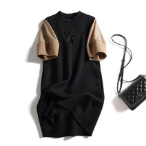 Dress Autumn 2020 black L,XL,2XL,3XL,4XL Middle-skirt singleton  Short sleeve commute stand collar Loose waist other Socket A-line skirt bishop sleeve Others Type A Korean version Bowknot, stitching, three-dimensional decoration 51% (inclusive) - 70% (inclusive) other cotton
