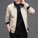 Jacket Business gentleman 4XL 5XL M L XL 2XL 3XL thin easy Other leisure spring Polyester 100% Long sleeves Wear out stand collar Business Casual middle age routine Zipper placket Rib hem No iron treatment Closing sleeve Solid color polyester fiber Spring 2021 Rib bottom pendulum Zipper bag