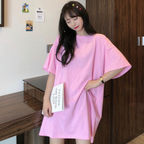 Women's large Summer 2020 Large M (suitable for 80-125 kg) large L (suitable for 125-150 kg) Large XL (suitable for 150-175 kg) large XXL (suitable for 175-200 kg) T-shirt singleton  commute easy moderate Socket Short sleeve Solid color Crew neck Medium length routine Han Luxian 18-24 years old