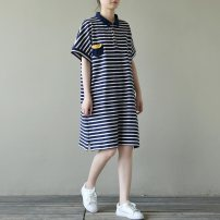 Dress Summer 2021 Navy Blue L [recommended 100-140 kg], XL [recommended 140-190 kg] Middle-skirt singleton  Short sleeve commute Polo collar Loose waist stripe Socket other routine Others 25-29 years old Type H Korean version printing 51% (inclusive) - 70% (inclusive) other cotton