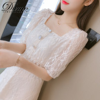 Dress Summer 2020 Apricot Pink S M L XL Mid length dress singleton  Short sleeve commute square neck High waist Solid color Socket A-line skirt puff sleeve Others 25-29 years old Type A Alone Korean version More than 95% other Other 100% Pure e-commerce (online only)