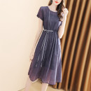 Dress Spring 2021 violet S M L XL Mid length dress Two piece set Short sleeve commute Crew neck High waist Solid color Socket A-line skirt routine Others 30-34 years old Type A Light and gentle Korean version Three dimensional decoration with knot and tie W26Q32050 71% (inclusive) - 80% (inclusive)
