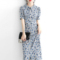 Dress Spring 2021 blue S M L XL Mid length dress singleton  Short sleeve commute stand collar High waist Broken flowers Single breasted A-line skirt Wrap sleeves Others 30-34 years old Type A Light and gentle Korean version Three dimensional decorative button W26Q6196 Chiffon Cellulose acetate