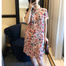 cheongsam Summer 2021 S M L XL Printing color Short sleeve Short cheongsam Simplicity No slits daily Oblique lapel Decor 25-35 years old Piping Light and gentle Cellulose acetate Acetate fiber (acetate fiber) 80% Lyocell fiber (Lyocell) 20% Pure e-commerce (online only)