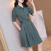 Dress Spring 2021 Greyish green S M L XL Middle-skirt singleton  elbow sleeve commute stand collar High waist Solid color Single breasted A-line skirt routine Others 30-34 years old Type A Light and gentle Korean version Three dimensional decorative strap button with lace up W26Q32068 Chiffon