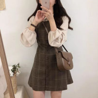 Women's large Spring 2021 S M L XL Dress Two piece set commute Self cultivation moderate Socket Long sleeves lattice Korean version Polo collar Medium length Three dimensional cutting puff sleeve NLQL05901 Ni xuannuo 18-24 years old Button 31% (inclusive) - 50% (inclusive) Short skirt Other 100%