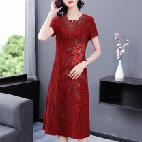 cheongsam Summer 2021 L XL 2XL 3XL 4XL 5XL Red-1675 Short sleeve Simplicity No slits wedding Round lapel Solid color Over 35 years old Embroidery YLXZ-1675 Xirusa other Other 100% Pure e-commerce (online only)