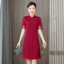 Dress Summer 2021 M L XL 2XL 3XL 4XL Middle-skirt singleton  Short sleeve commute stand collar middle-waisted Solid color Socket A-line skirt routine Others 40-49 years old Type A Xirusa Korean version Embroidery More than 95% other Other 100% Pure e-commerce (online only)
