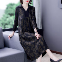 Women's large Spring 2021 Picture color-8671 Large L Large XL Large 2XL large 3XL large 4XL Dress singleton  commute easy moderate Socket Nine point sleeve Decor Korean version V-neck Medium length Three dimensional cutting routine SSYSFS-8671 Xirusa 40-49 years old Medium length Other 100% other