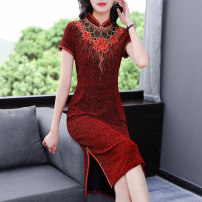 cheongsam Summer 2021 L XL 2XL 3XL 4XL 5XL Red-1673 Short sleeve long cheongsam Retro Low slit wedding Oblique lapel Decor Over 35 years old Piping YLXZ-1673 Xirusa other Other 100% Pure e-commerce (online only)