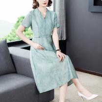 Dress Summer 2021 Light green-9828 pink-9828 L XL 2XL 3XL 4XL Mid length dress singleton  Short sleeve commute V-neck middle-waisted Solid color Socket A-line skirt routine Others 40-49 years old Type A Xirusa Korean version printing GFRQJD-9828 More than 95% other Other 100%