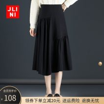 skirt Winter 2020 M L XL 2XL 3XL 4XL black Mid length dress commute High waist A-line skirt Solid color Type A 25-29 years old JN20AT1439 JLINI fold Korean version Pure e-commerce (online only)