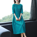 Dress Summer 2021 Picture color M L XL 2XL 3XL Mid length dress singleton  elbow sleeve commute Crew neck middle-waisted Solid color Socket Big swing routine Others 35-39 years old Type A Han Suozhi Korean version ZBHA7828 More than 95% other other Other 100% Pure e-commerce (online only)