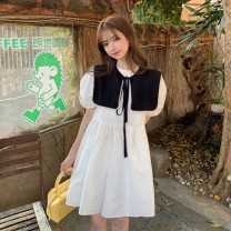 Dress Summer 2021 White yellow blue Average size Short skirt Two piece set Short sleeve commute Admiral High waist Solid color A-line skirt puff sleeve 18-24 years old Emperor's paradise Korean version 0402L46 More than 95% other other Other 100% Pure e-commerce (online only)